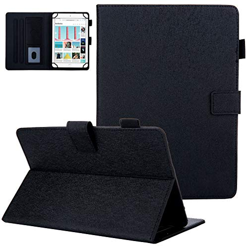 "7 Inch Universal Case, UGOcase Slim PU Leather Protect Case Foldable Solid Stand Wallet Cover for Samsung/Kindle fire 7.0 2015 2017/Google/KOBO/RCA/Acer/ASUS/More 6.0""-7.0"" inch Tablet, Black"