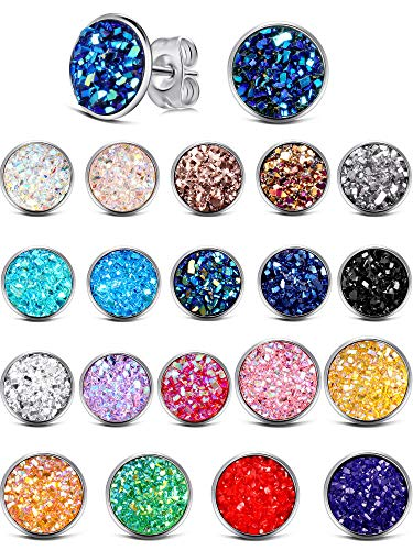 20 Pairs Round Stud Earrings Stainless Steel Druzy Studs Earrings Set Anti-sensitive Fits Women Girls, 8 mm and 12 mm (Silver)
