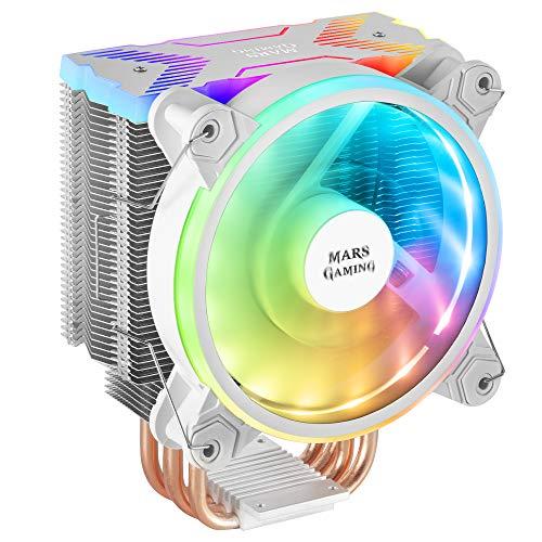 MARSGAMING MCPUXW, Disipador CPU Blanco, TDP 180W, Dual ARGB, Silencioso PWM 12cm