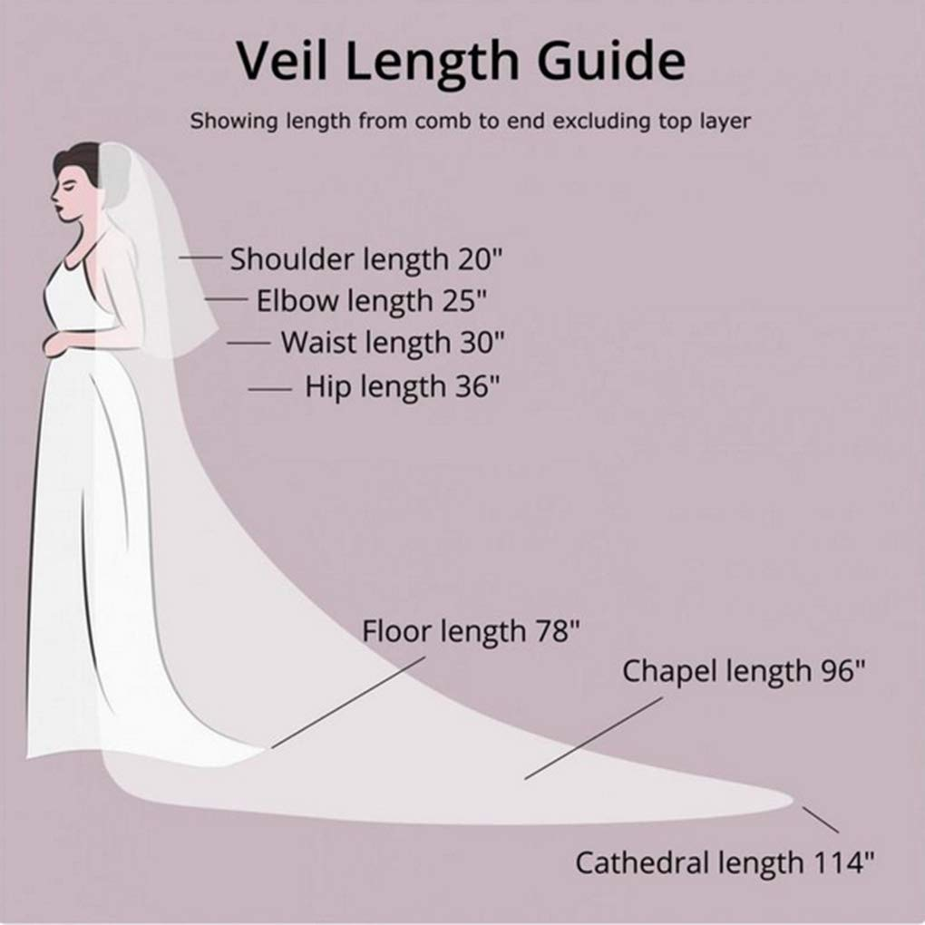 Ursumy Wedding 2T Veil Long Cathedral Veil Soft Tulle Bridal Veils with Comb (White)