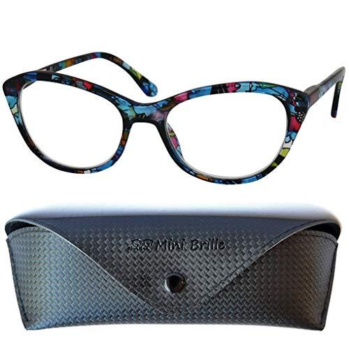 Cateye Lesebrille mit großen Gläsern - mit GRATIS Brillenetui, Kunststoff Brillengestell Bunt (Blumen Muster Blau), Lesebrille Damen +1.0 Dioptrien