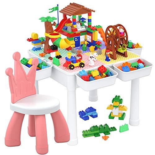 MAATCHH Tabla de Juego y Estudio con Bloques Grandes Bloques de construcción Mesa de Actividad de Piezas con Almacenamiento para niños pequeños Muy Adecuado para Manos pequeñas.