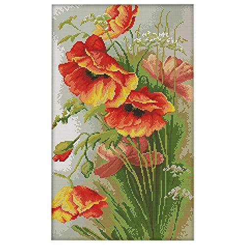NYLGKDMM Kit de bordado de ponto à mão DIY 14CT PY ponto floral 33 50 cm Decoração para casa (Cor: Cor da foto)