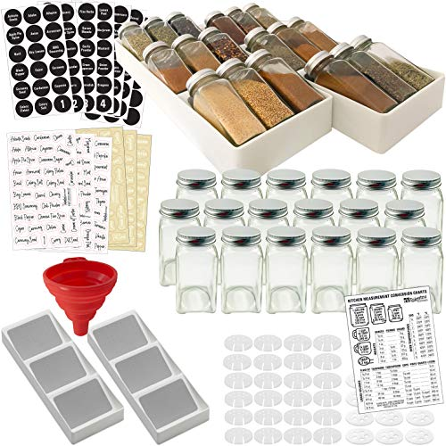 Spice Rack Drawer Organizer w/18 Glass Spice Jars & 2 Types of Printed Spice Labels by Talented Kitchen. Complete Set: 2 Drawer Trays, 18 Square Empty Glass Jar 4oz, Chalk & Clear Label