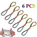 Vegena Corde à Doigts, (6 Pièces) Rainbow Puzzle Toy Rope, Cats Cradle Corde Jeu de Ficelle Corde à Doigts, pour Garçons Filles