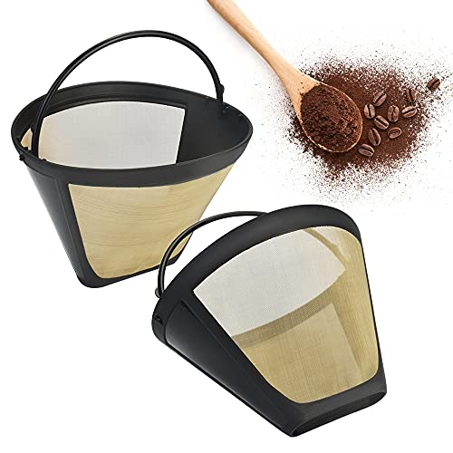 STCRERAG 2 PCS Goldtonfilter Kaffee Dauerfilter 6-8 Tasse Edelstahl Kaffee Filter Mesh Korb Waschbar Kaffeefilter Gr.2 Wiederverwendbar Plastik Dauerkaffeefilter mit Griff Für Meiste Kaffeemaschine