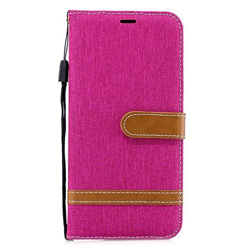 Bumina Handyhülle für Samsung Galaxy A20e Hülle PU Leder Flip Wallet Cover Stand Case Card Slot Leder Tasche Karteneinschub Magnetverschluß Kratzfestes Schutz für Samsung Galaxy A20e Rose rot