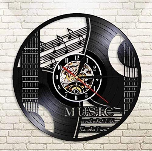 ZZLLL Disco de Vinilo Reloj de Pared Cuarzo Música silenciosa Guitarra Diseño de CD Moderno Niños Amigos Amigos Adultos Decoración del hogar -12 Pulgadas