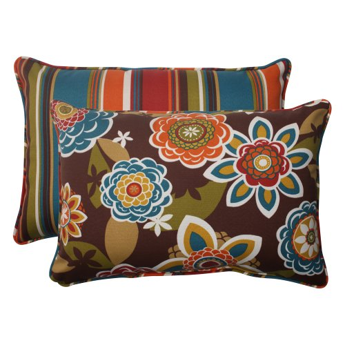 """Pillow Perfect Outdoor Annie Westport Reversible Corded Oversized Rectangular Throw Pillow, Chocolate, Set of 2,Brown