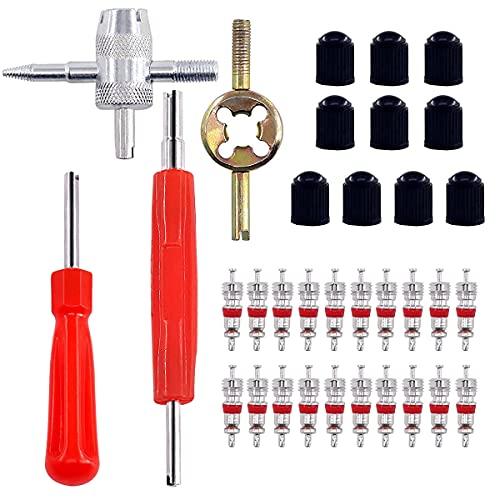 HUAZIZ Juego herramientas núcleo e válvulacon 20 núcleos válvula + 10 tapas válvula neumático + 1 herramienta válvula de 4 vías + 2 piezas herramienta de reparación + 1 llave de núcleo de válvula