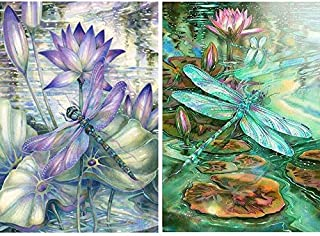 PQXZXX 2 Pack 5d Diamond Painting Kits for Adults Kids dragonflys Full Drill Diamond  for Home Wall Decor