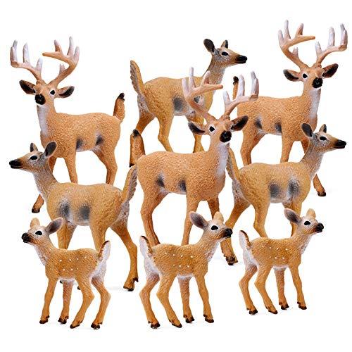 RESTCLOUD Deer Figurines Cake Toppers  Deer Toys Figure  Small Woodland Animals Set of 9