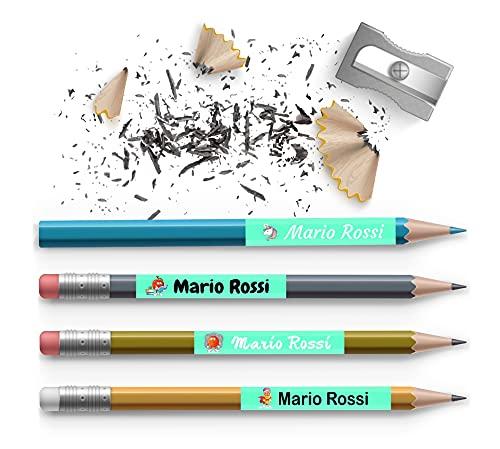 60 Etichette adesive personalizzate mini 50 x 10 mm colorate, utili per contrassegnare penne , quaderni , matite , oggetti vari, ecc.