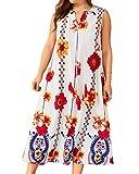 Loveinus Womens Maxi Long Dress Fashion Print Sleeveless Boho Loose Plus Size A Line Dress White XL (Apparel)