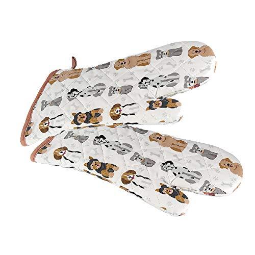 Backhandschuhe Hitzebestaendig, Topfhandschuhe Ofenhandschuhe Lang mit Hund Motiv, Geschenk für Frauen Damen und Männer