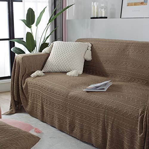 Zxb-shop Suave Cubierta del Sofá Lanzar Manta,Cubiertas De Couch para Cushion Couch,Moderno Decorativo Tirar Manta para El Saco Sofá Cama Viaje-Marrón 170 * 300CM