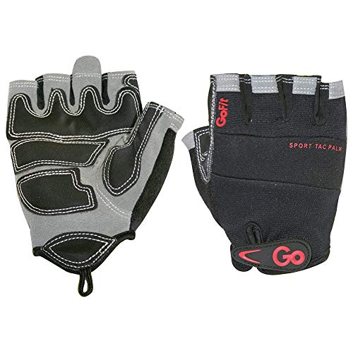 GoFit Men's Sport-Tac Pro Trainer Gloves - Synthetic Leather Palm, Neoprene Knuckle Panel for Comfortable Grip, Powerlifting, Pull-Ups, & Gym Workouts - Medium