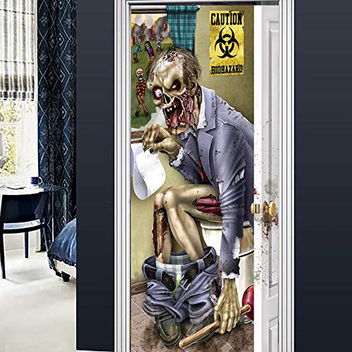 DRBTMT Türtapete Selbstklebend TürPoster - 3D Halloween Zombie kreativ 77x200cm - Fototapete Türfolie Poster Tapete Abnehmbar PE Schälen und Stock Wandtapete zum Wohnzimmer Küche Schlafzimmer
