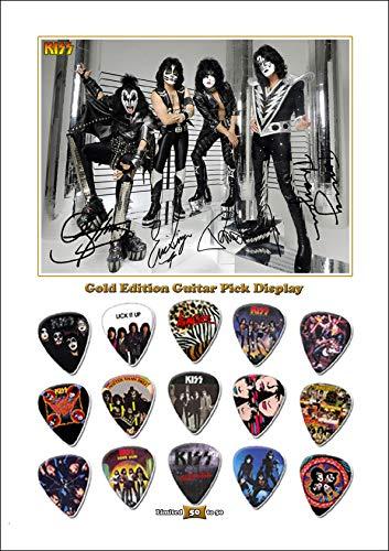 We Love Guitars KISS B Gold Edition Gitarre Plektrum Unframed Ungerahmt Display Gitarren-Picks