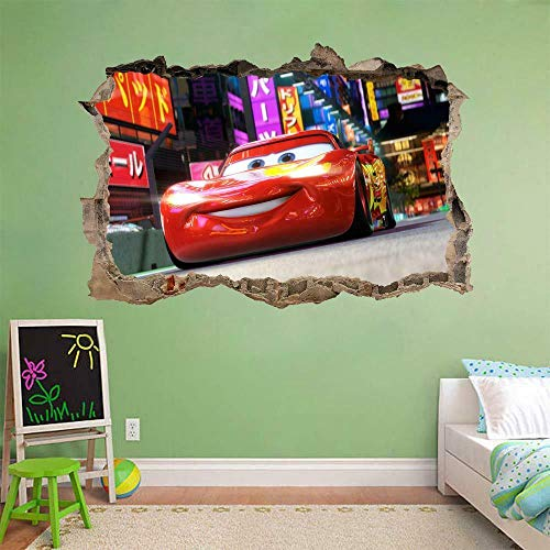 Yxsnow 3D Pegatinas de pared Coche McQueen rompiendo el extraíble 3D Adhesivo Decorativo para Pared Pegatinas Decorativas Pared Para Niños Decoración de la Pared Stickers