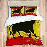 SUGARHE Bettwäsche Set,Bull Silhouette auf spanischer Flagge Grunge National Elements Paint Stains,1 Bettbezug 200x200cm+2 Kopfkissenbezug 50x80cm