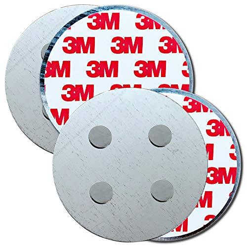 HaftPlus - [2 Stück] Rauchmelder-Magnethalter Ø 70mm, mit 4 extra starken Neodym-Magneten, selbstklebendes 3M Tape für alle Rauch und CO Melder, ohne Bohren für alle Wände und Decken