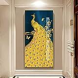 Pavos reales de lujo personalizables de pie en una jaula de rama moderna, marcos decorativos, arte de pared para balcón, sala de estar, decoración de oficina 40x60 CM (sin marco)