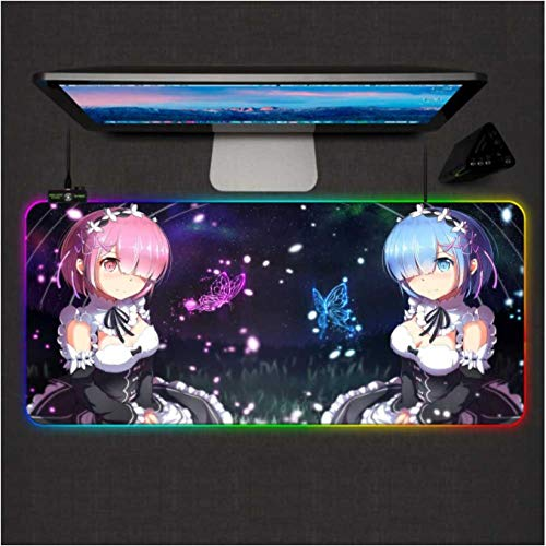 Gaming Mouse Pads Re Zero Anime Girl Gaming Mouse Pad RGB Large Gamer Mousepad Led Backlight XXL Computer Office Keyboard Desk Mat-50X100X0.4Cm