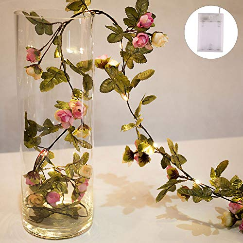 LED Fairy String Lights, Artificial Rose Ivy Garland Copper String Lights Perfect Wedding Decorations - AA Battery Powered - Warm White for Home Garden Party Parasol Wedding Decorations (5M)