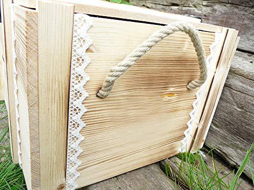 Erinnerungskiste Vintage aus Holz mit Wunschmotiv – Hochzeitsgeschenk personalisiert – Erinnerungskiste mit Gravur – Hochzeitskiste – Hochzeitstruhe - 3