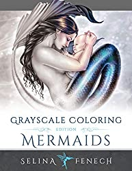 grayscale coloring book mermaids