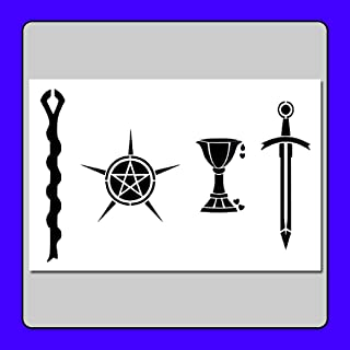 8 X 12 inch Tarot Card Suits/Symbols Stencil Template Wand/Pentacle/Cup/Sword