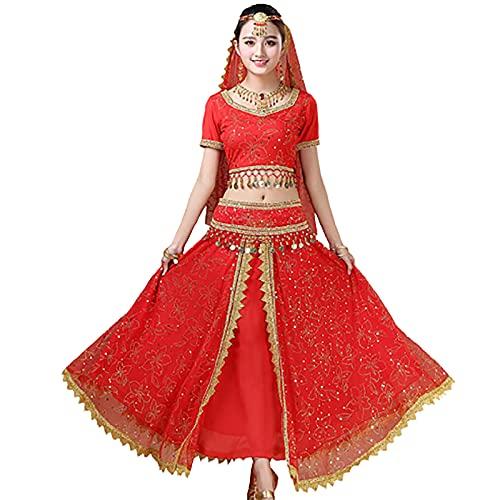 ZYLL Femmes 4 pièces Robe de Danse Indienne Tenues de Danse du Ventre Robe Bollywood Costume Femmes Ensemble Halloween déguisements,Rouge,XL