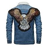 Vintage Distressed Jean Jacket for Men, Motorcycle Jacket with Sherpa Lined Lapel Collar, Eagle Patchwork Denim Jacket
