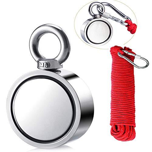 Uolor 300KG Haftkraft Doppelseitig Neodym Ösenmagnet mit Seil (20M/66ft), Super Stark Magnete Perfekt zum Magnetfischen Magnet Angel - Ø 60mm mit Öse Neodymium Topfmagnet