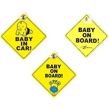 Baby An Bord Auto Aufkleber Baby Autoaufkleber 3 Pack Baby Schilder Für Autos Pvc Quadrat Kinder Sicherheit Vorsicht Zeichen Mit Saugnapf Sicherheitsschilder 5 5 Zoll Gelb Baumarkt
