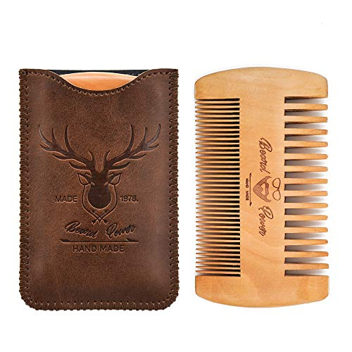 Beard Power Wooden Beard Comb & Durable Case for Men with Sexy Beard, Fine & Coarse Teeth, Pocket Comb for Beards & Mustaches,Brown Deer Design