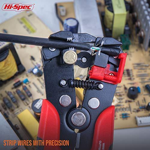 Hi-Spec 3-en-1 Automatique Fil dénudeur, Gaufreur Terminal Coupe-fil, 10-24AWG (6-0. 5 mm) pour Réparations Electriques et Maintenance sur Appareils Ménagers, Electronique Compatible avec ROMEX