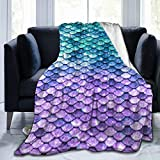 Throw Blanket,Blue Purple Mermaid Fish Scale Soft Blanket Kids Sherpa Blanket For Family,80'X60' Comfortable Cozy Bed Blanket For Men Women,Perfect Throw For All Seasons Couch Sofa Warm Blanket