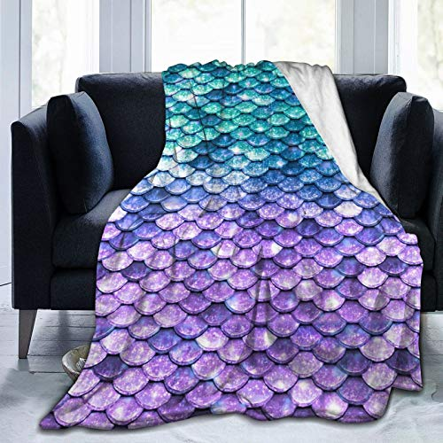"""Throw Blanket,Blue Purple Mermaid Fish Scale Soft Blanket Kids Sherpa Blanket For Family,80""""X60"""" Comfortable Cozy Bed Blanket For Men Women,Perfect Throw For All Seasons Couch Sofa Warm Blanket"""