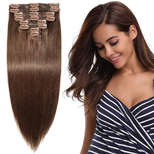 Clip in Extensions Echthaar Remy Haarverlängerung für komplette Haare 8 Tressen Doppelt Dicke 55cm-160g(#4 Schokobraun)