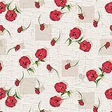 Wachstuch Tischdecke abwaschbar Gartentischdecke Meterware Mohnblumen Beige Rot Grün ÖkoTex Fantastik C93-3 (160 x 140 cm)