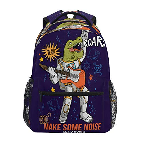 Weltraum Rockstar Dino Dinosaurier Schulter Rucksack Bookbag für Teen Jungen Mädchen Kinderrucksack Laptop Büchertasche Rucksäcke