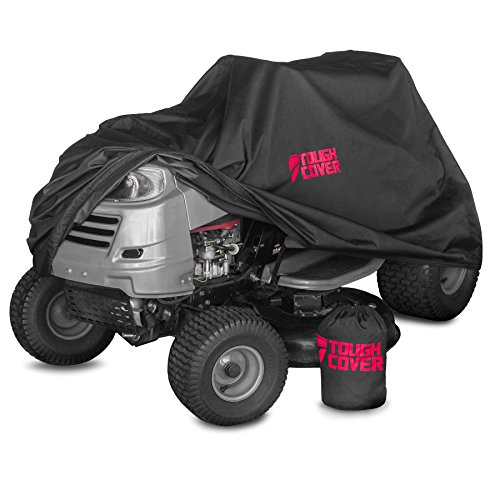 Tough Cover Premium Lawn Tractor Cover. Heavy-Duty 600D Marine Grade Fabric Featuring Double Stitched Seams & Interior Waterproof Coating. for Up to 54