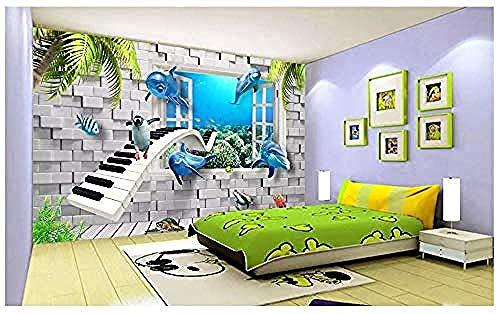 Wandbilder Dekorative 3D Wandbild Aufkleber Stereo Meerestier Delphin Klavier Symbol Enthält Kleber für Schlafzimme Wanddekoration fototapete 3d Tapete effekt Vlies wandbild Schlafzimmer-300cm×210cm