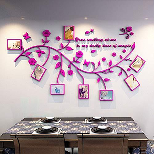 3D Pegatinas de Pared Vinilos Árbol con Hoja Purpura y Marcos de Foto Acrílico Adhesivos Pared Decorativos para Pared para Dormitorio Sala de Estar