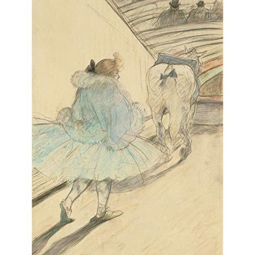 Toulouse Lautrec Circus invoeren spoor meisje paard ingelijst muur kunst afdrukken 18X24 In