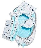 Solvera_Ltd 5tlg. Kuschelnest-Set MINKY inkl Babynest 90x50 herausnehmbarer Einsatz Flachkissen Krabbledecke Schmeterrling-Kissen für Babys 100% Baumwolle (Blu)