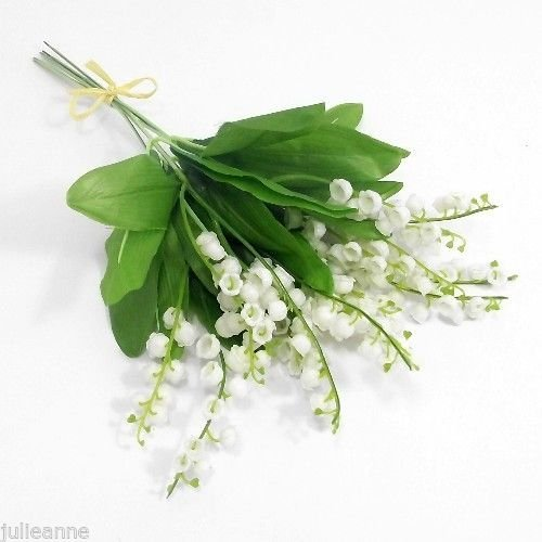 LILY OF THE VALLEY - 6 PLASTIC ARTIFICIAL FLOWERS & FOLIAGE