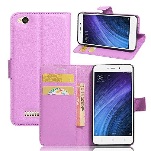 Ycloud Tasche für Xiaomi Redmi 4A Hülle, PU Ledertasche Flip Cover Wallet Hülle Handyhülle mit Stand Function Credit Card Slots Bookstyle Purse Design lila